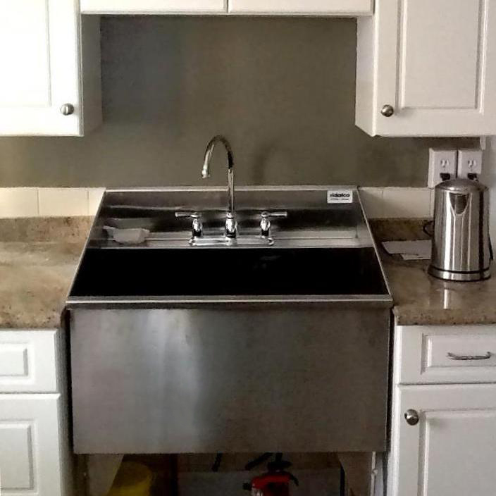 Ridalco stainless steel sinks ridalco stainless steel for Stainless steel countertop with built in sink