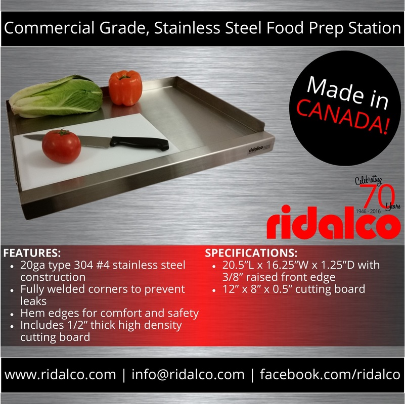 RIDALCO | Food Prep + Cutting Board   RIDALCO | Stainless Steel