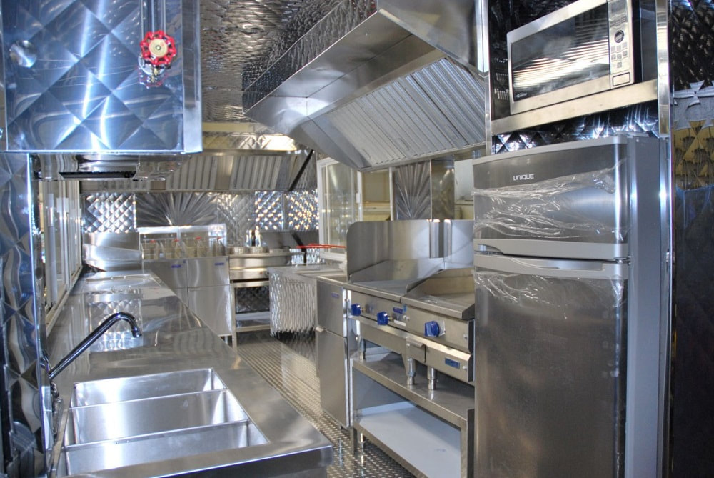 Commercial food truck restaurant kitchen stainless steel exhaust hood