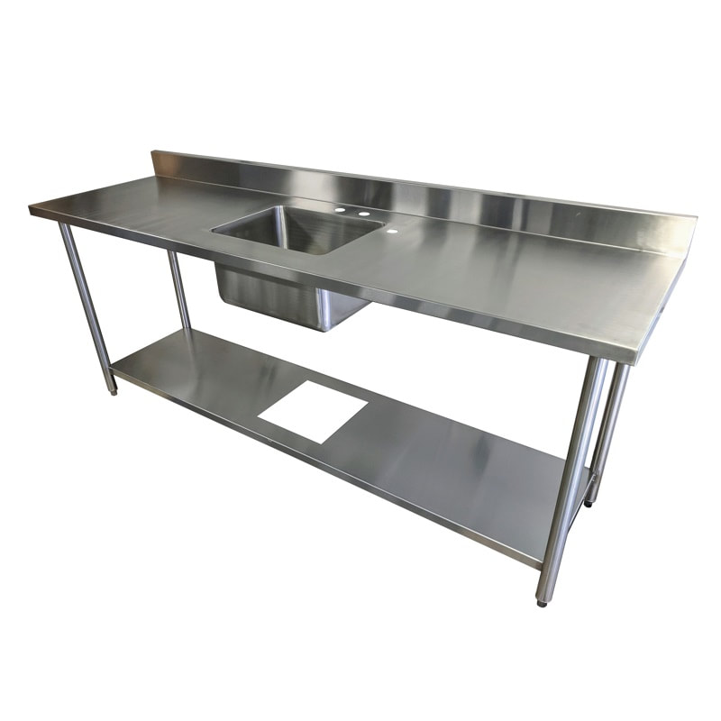 Stainless steel work table with sink and undershelf